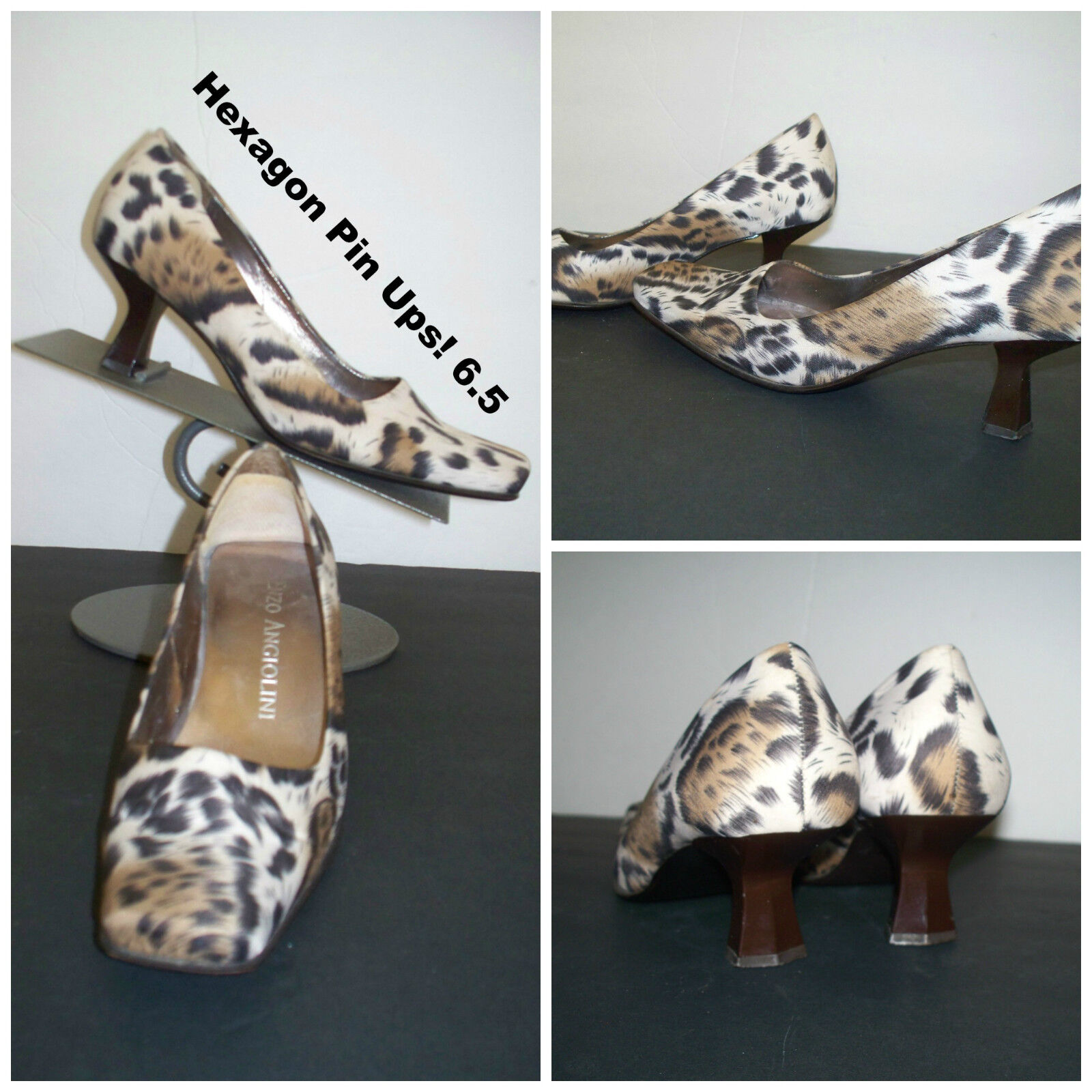 Enzo Classic Angiolini Hexagon Pump Animal Print Cloth Canvas Classic Enzo Pumps / Heels 6.5 836cac