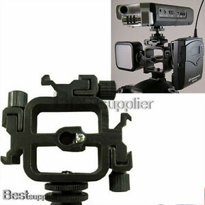 US Swivel Triple Hot Shoe Mount Adapter Flash Umbrella Mic Holder Bracket Studio