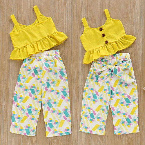 Hot-Toddler-Kids-Baby-Girl-Summer-Top-T-shirt-Long-Pants-Outfits-Set-Clothes-Set