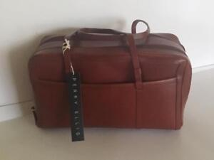 Image Is Loading New Perry Elllis Leather Satchel Rusty Brown Handbag