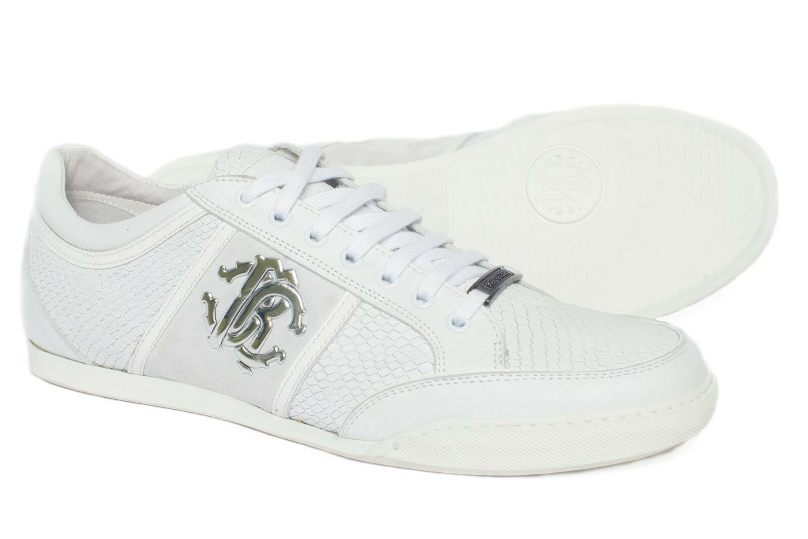 Roberto Cavalli 02894  Italian mens white low top lace up sneakers