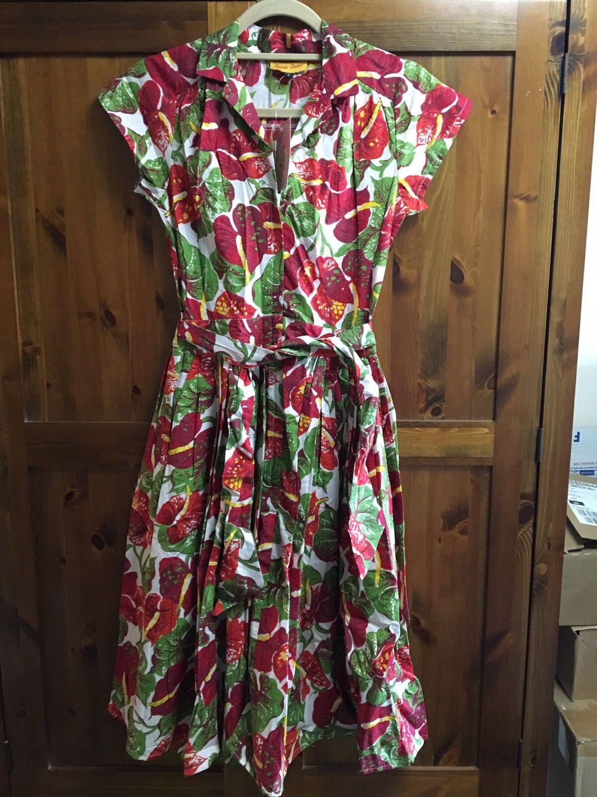 Bernie Dexter damen's Kelly Dress Größe S 8-10 Vintage rot Anthurium Floral Print