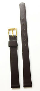 VINTAGE-10MM-PLAIN-DARK-BROWN-GENUINE-LEATHER-STRAP-BAND-GOLD-TONE-BUCKLE-NOS