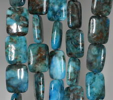 20X15MM BLUE LAGOON PYRITE INCLUSIONS QUARTZ GEMSTONE RECTANGLE LOOSE BEADS 15""