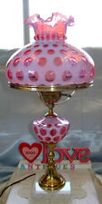 """MINTY~VINTAGE~50s""""FENTON""""GLASS""""CRANBERRY OPALESCENT""""COIN DOT""""LRG~23""""X10""""3wy""""LAMP"""