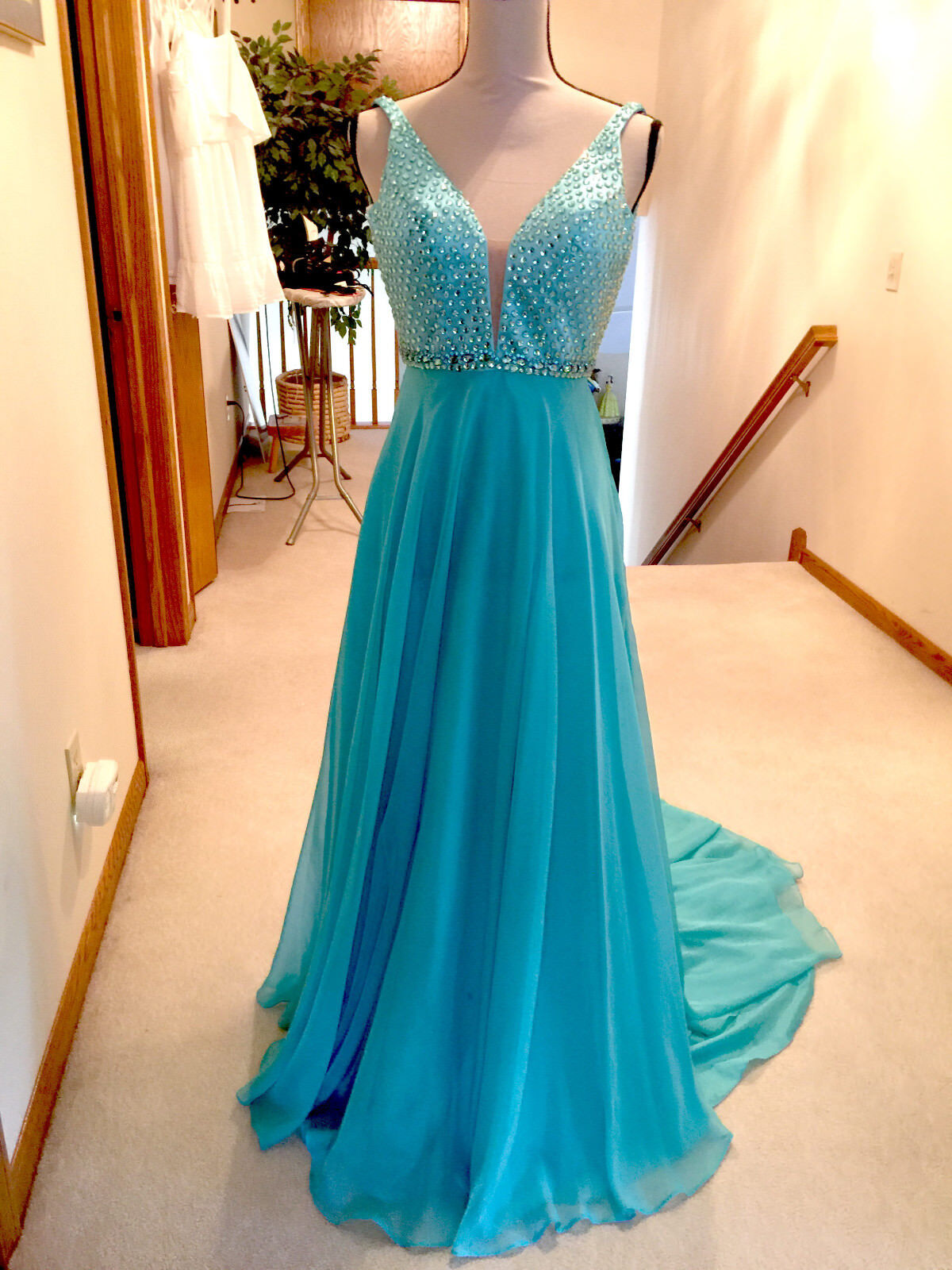 Sherri Sherri Sherri Hill Gown Prom or Pageant Size 0  blueee Teal Dress 53426c