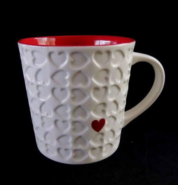 Starbucks Valentines Coffee Mug Embossed Red Heart 16 Oz 2007 Oversized Mint