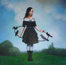 TANZ mit VOGEL Surrealismus Ölgemälde Gemälde oil on canvas painting 739