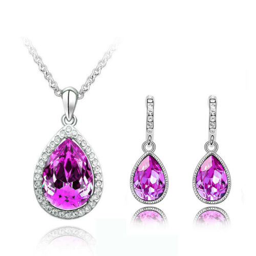 Gotas de cristal de color rosa oscura Joyas Aretes Collar Colgante Conjunto de Regalo