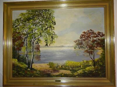Gehorsam Wunderschönes Landschafts Gemälde Waldseeblick V. Lother Gühler Ölgemälde Modern Und Elegant In Mode