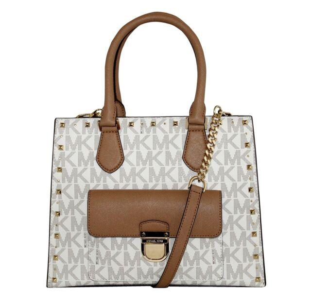 6f76470339ea Michael Kors Signature Bridgette Studded Medium EW Tote Bag in Vanilla/acorn