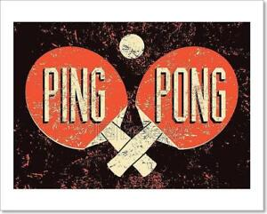 Image Is Loading Ping Pong Typographical Vintage Gru Art Print Home