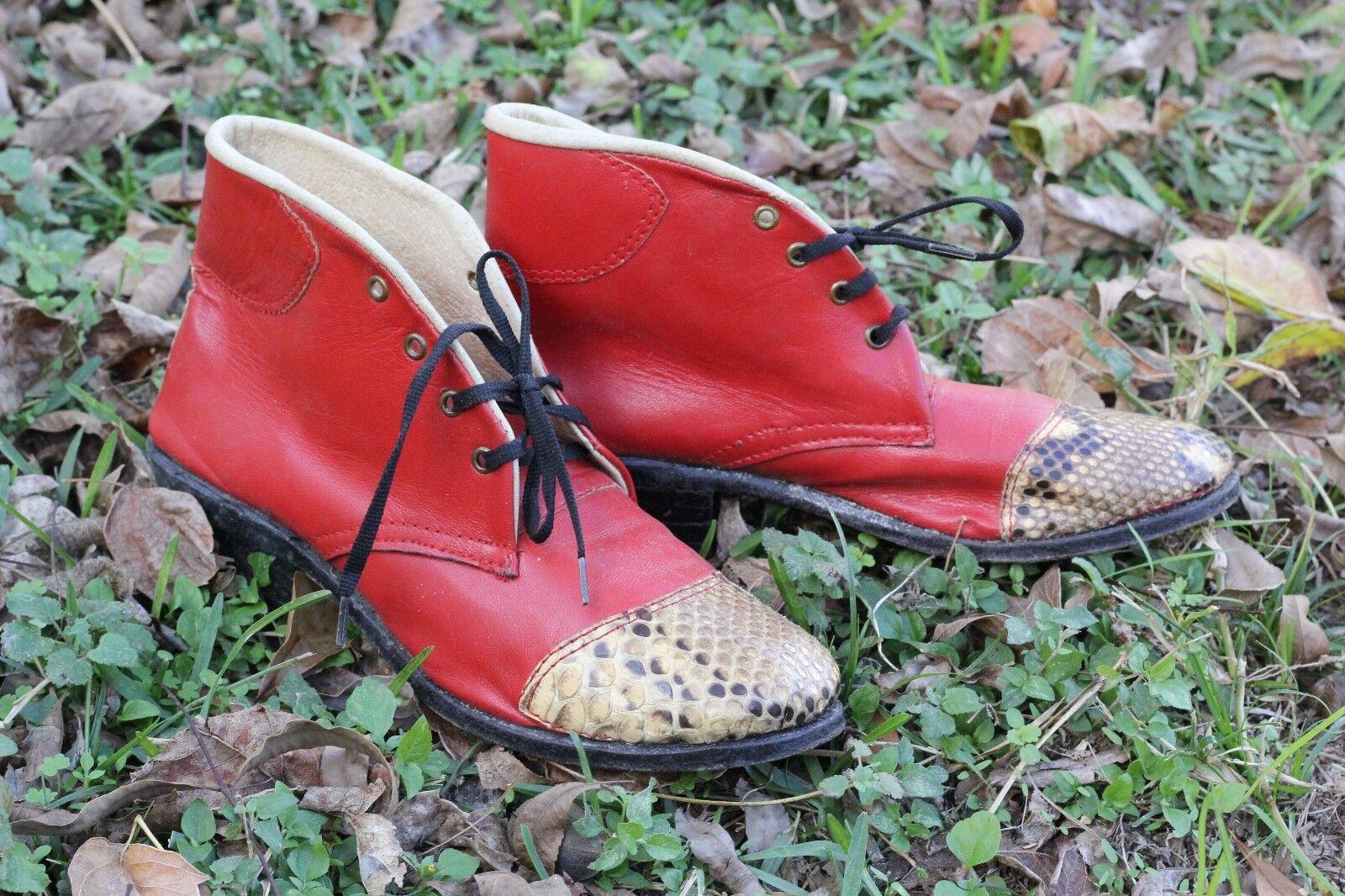servizio onesto RARE  Vintage rosso Leather & Lizard Genuine Lace Lace Lace up Leather avvioies stivali 6.5   7  marchio famoso