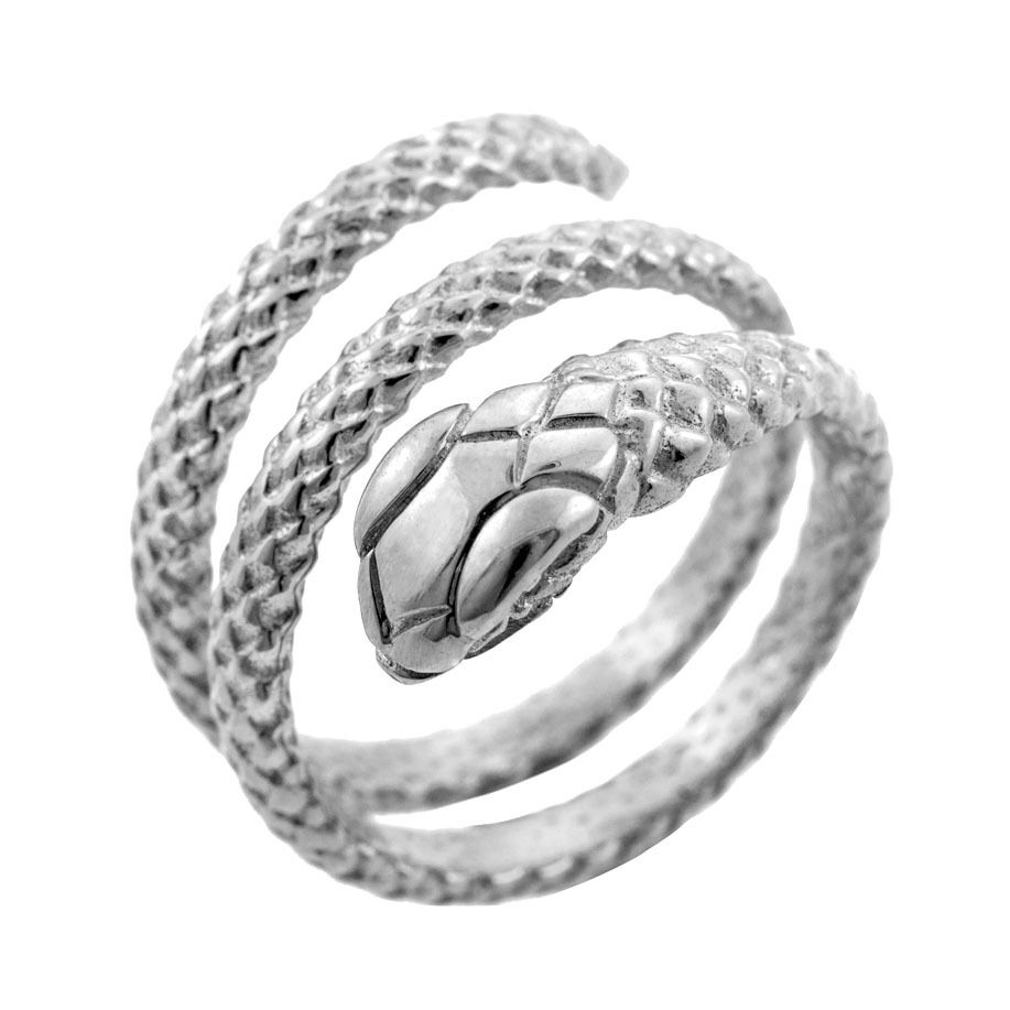 Solid 14k White gold Rolling Snake Ring