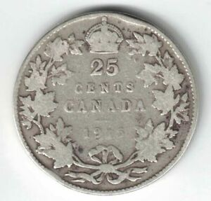 CANADA-1915-TWENTY-FIVE-CENTS-QUARTER-KING-GEORGE-V-STERLING-SILVER-COIN