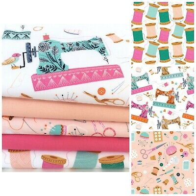 Buttons /& bobbins sewing themed fat quarter fabric bundle 100/% cotton for sewing
