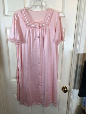 Vanity Fair Robe Goddess Pale Pink Chiffon Boudoir Vintage Negligee Set Peignoir Nightgown Two Piece with Lace Flowers