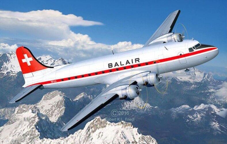 Revell 04947 Dc -4 Balair   Islande Airways Kit PLASTIQUE \95533;kele 1  72 T  48 Post