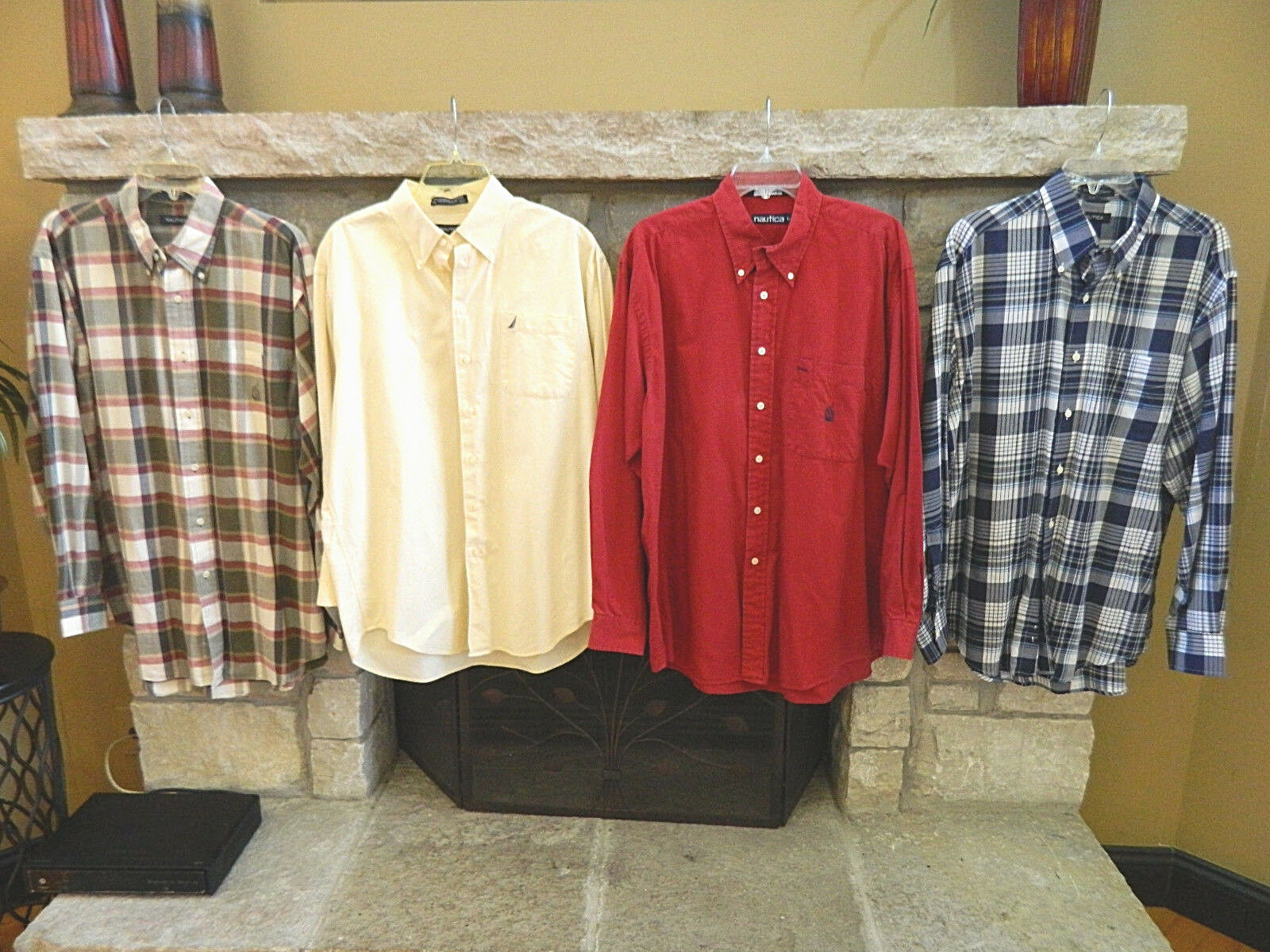 Lot of 4 Mens NAUTICA Button Up_Dress-Casual-Plaid Shirts_Size Large L