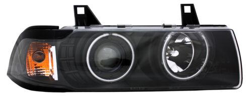 Juego FAROS para bmw e36 Coupe Cabrio CCFL ANGEL EYES h1 h3 negro claro