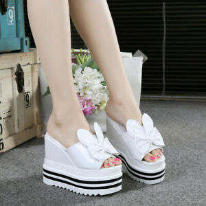 Womens-Wedge-High-Heel-Slippers-Sandals-Open-Toe-Summer-Shoes-Slip-on-Platform