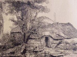 Hauptblaetter-graphischer-Kunst-Nr-85-nach-Rembrandt-DIE-HUTTE-UNTER-DEM-BAUM