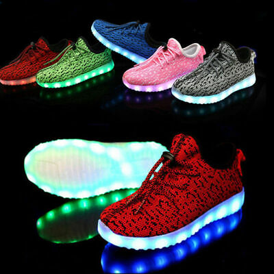 Unisex Trainers Flashing LED Lights USB Lace Up Sneakers Luminous Casual Shoes