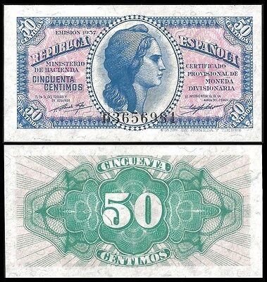 Spain 50 Centimos 1937 P 93 UNC OFFER !!