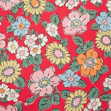 Cath Kidston Camden Rojo Flores De Tela De Algodón 50 X 72cm Nuevo Raro Descatalogado