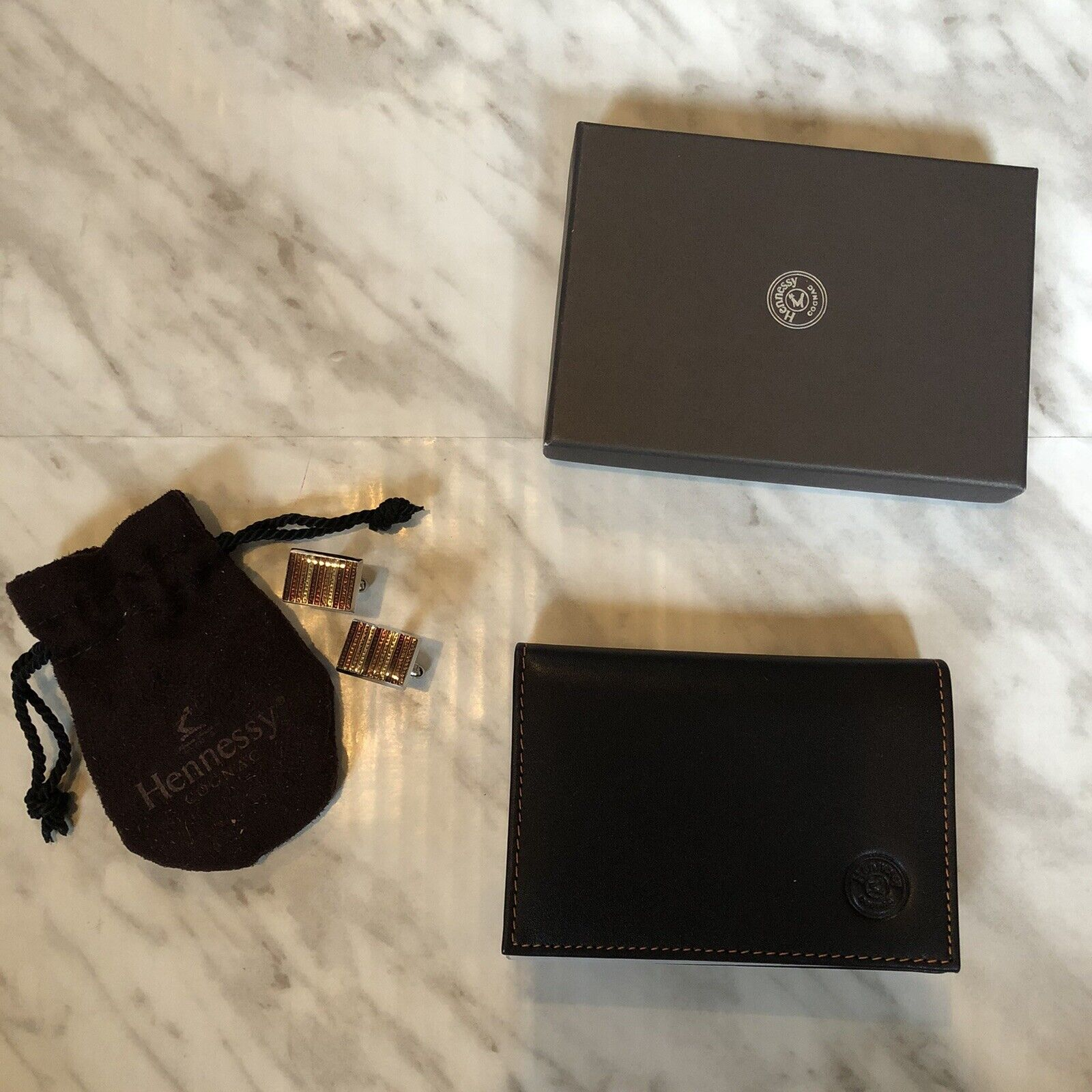Hennessy Leather Wallet and Cuff Link Combo - NWT