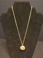 VINTAGE ANTIQUE PERFUME LOCKET PENDANT NECKLACE GOLD TONE CHAIN FLOWER