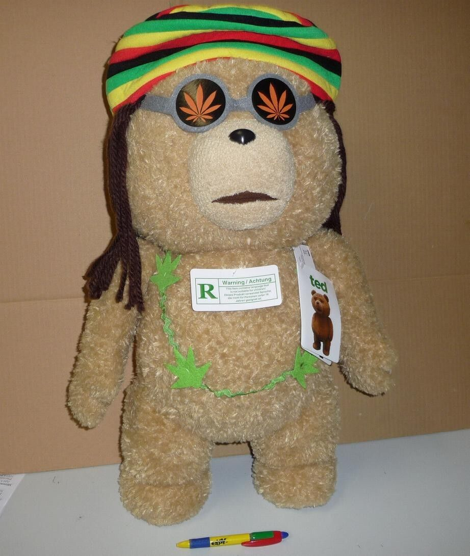 TED BEAR Huge SOFT TOY 60cm RASTA Jamaican PARLANTE Vulgar PLUSH Talking
