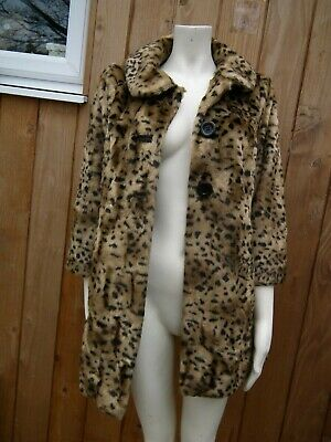 River Island Faux Fur Animal Print Fully Lined 3//4 Sleeve Collared Jacket Coat