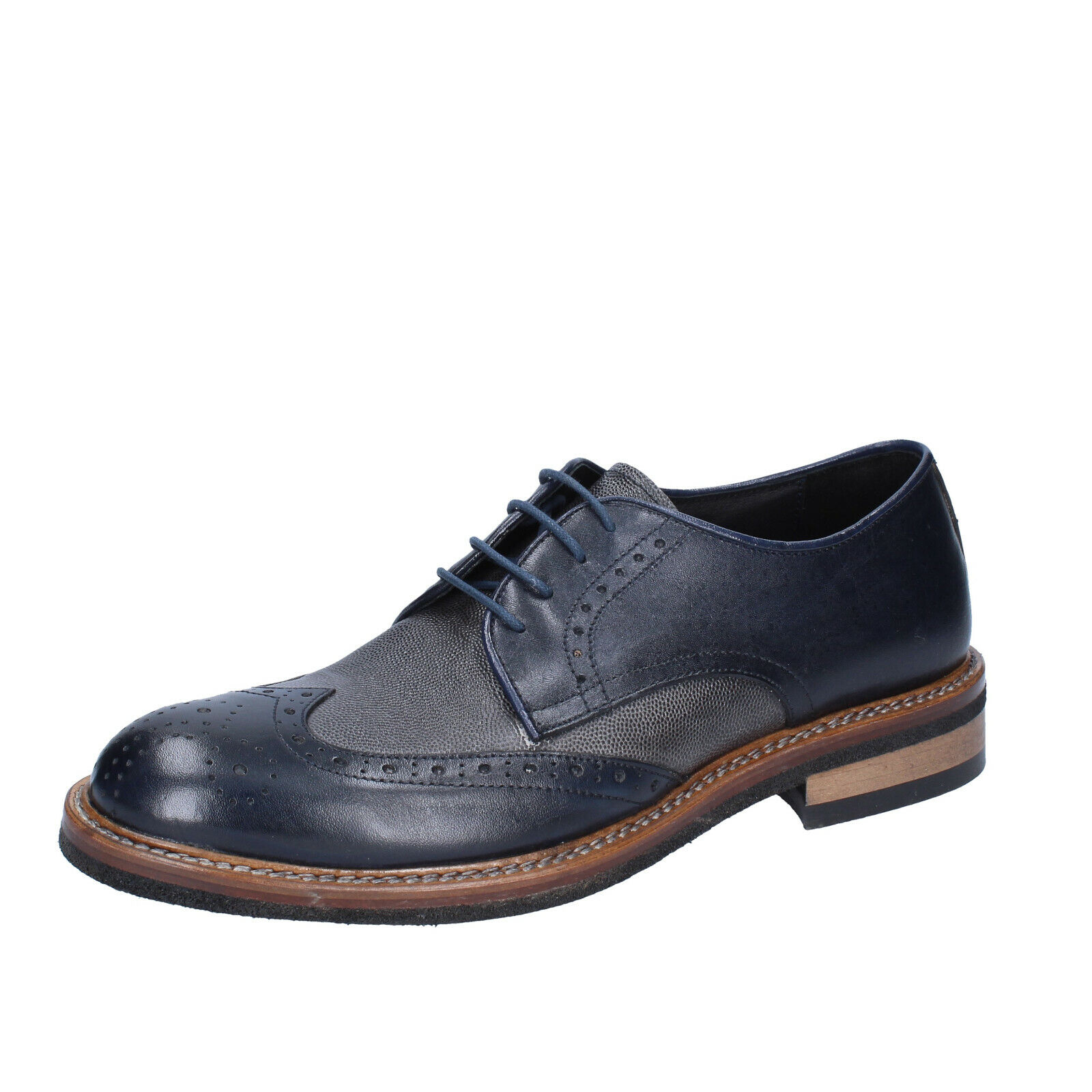 Mens shoes +2 PIU' DUE 6 () elegant bluee grey leather BS751-40