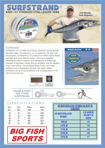 AFW SURFSTRAND Stainless Steel Leader Wire 40lb Test 30/' #B040-0 FREE USA SHIP!