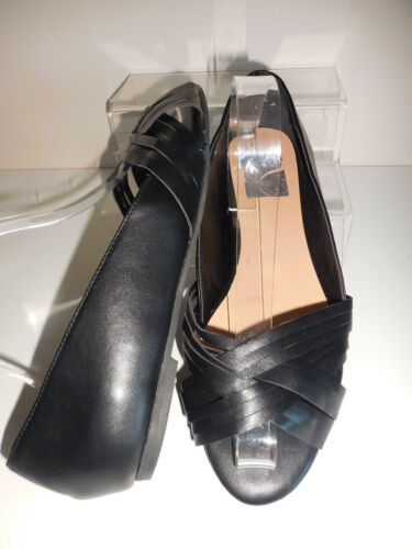 Flat Black Lattice Front Open Toe Shoes Size 8 Wide Fit EEE BNWT From Evans