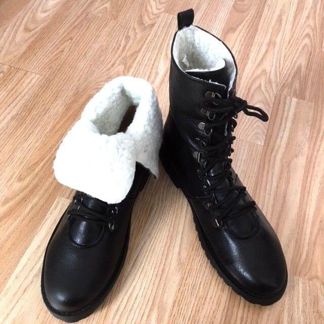 2StyleInOne Women Black Warm Fur Line Military Buckle Ankle Long Boot Shoe Size