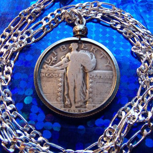 "Silver USA STANDING LIBERTY Quarter Pendant on a 30/"" 925 Silver Chain PRE 1929"