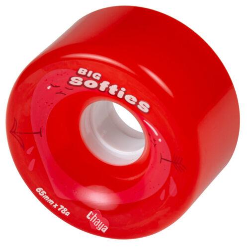 4 Chaya Big Softies Clear Red Rollschuh Rollen 65mm 78A Rollerskates Wheels rot