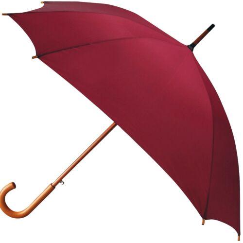 Automatic 8 rib square umbrella with curved wooden handle 106cm Diameter
