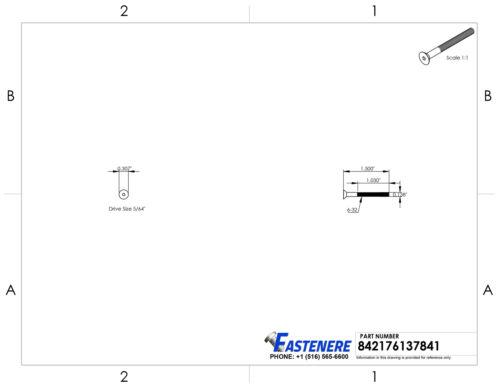 "6-32 x 1-1//2/"" Flat Head Socket Cap Screws Grade 8 Steel Black Oxide Qty 100"