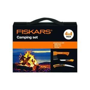 Fiskars Camping Set - Beil X5 Handsäge SW73 Universalmesser inkl. Tragetasche