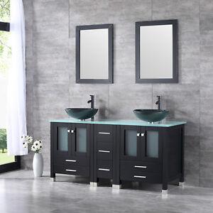 60 black bathroom vanity cabinet top glass vessel sink w - Bathroom vanity and mirror combo ...