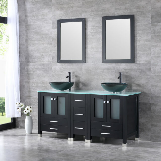 60 Black Bathroom Vanity Cabinet Top Gl Vessel Sink W Mirror Faucet Combo