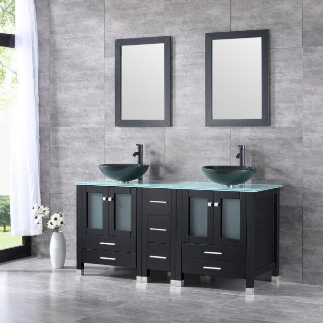 60inch Bathroom Vanity Cabinet Tempered Gl Vessel Sink Faucet Drain Set Black