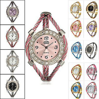 Design Steel Wire Crystal Quartz Beauty Bracelet Wrist Watch For Women Girls f5