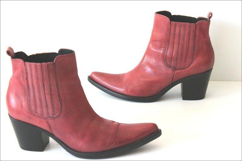MANI MANILDA Bottines botas Pointues Cuir rojo Clair T 37 TTBE