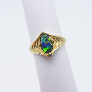 JEWELLERY-SOLID-18-CARAT-GOLD-RING-SOLID-BOULDER-OPAL-8709