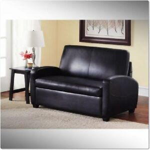 SOFA SLEEPER BLACK CONVERTIBLE COUCH LOVESEAT CHAIR LEATHER MATTRESS BED NEW