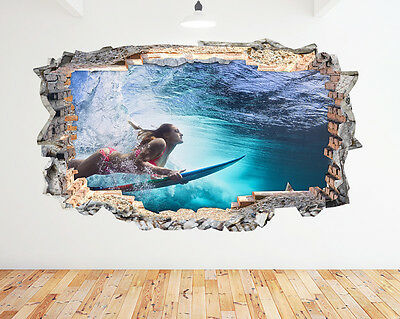 H525 Girl Surfing Underwater Blue Window Wall Decal 3D Art Stickers Vinyl Room